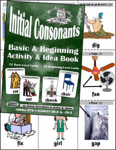 Initial Consonants <br/> Levels 1 & 2 = Basic & Beginning, 52- & 72-Card Decks, 72-Page Activities & Ideas Book