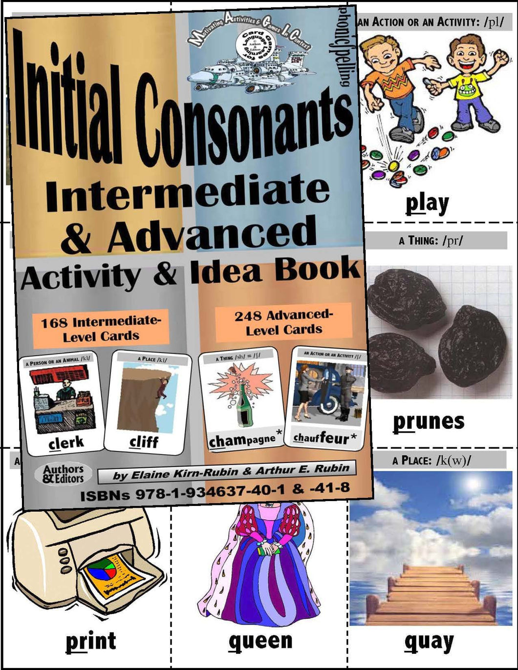 Initial Consonants <br/> Level 3 & 4,  Intermediate & Advanced = <br/> 160 & 244-Card Decks, 88-Page Activities & Ideas Book