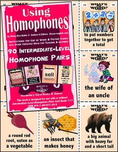 Homophones, Using <br/> Level 3 = Intermediate br/> 5 Packs of 18 Vocabulary Pairs each + 44-Page Book