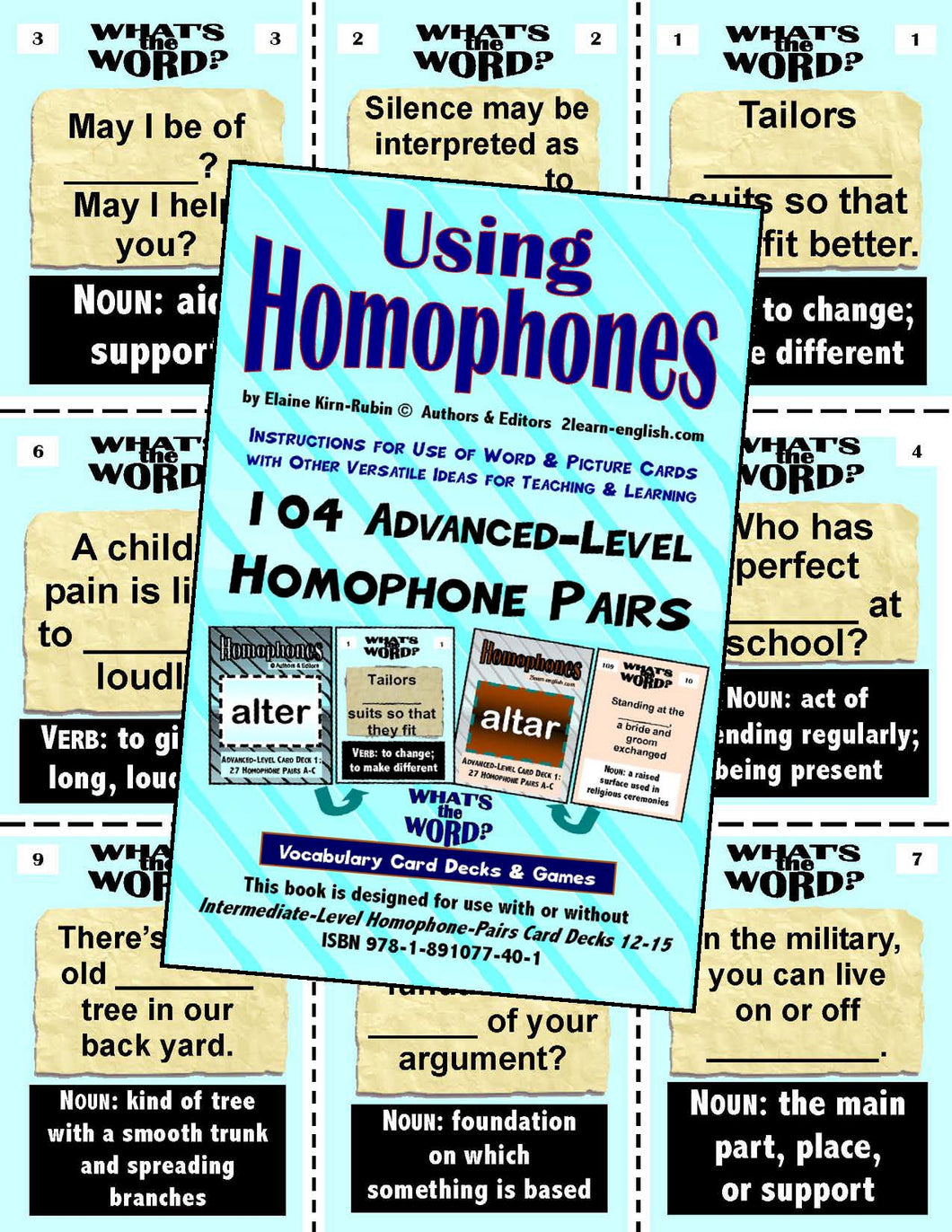 Homophones, Using <br/> Level 4 = Advanced br/> 4 Packs of 27 Vocabulary Pairs each + 44-Page Book