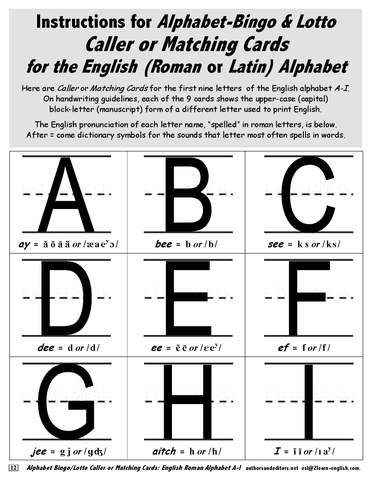 Alphabet Teaching Instructions for Bingo and Lotto Cards