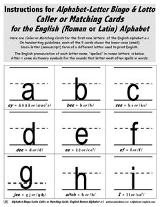 Instructions for Alphabet Bingo and Lotto with Roman or Latin Alphabet