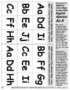 Instructions and Letter Grids for Alphabet Bingo