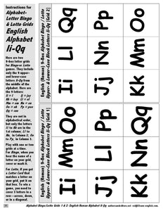 Instructions for Alphabet Game Bingo Letter Grids