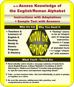 A-10: Assess Knowledge of the English/Roman Alphabet