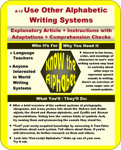 A-12 Use Alphabetic Writing Systems