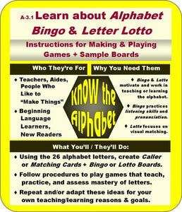 Alphabet Bingo and Lotto Directions and Info Graphic