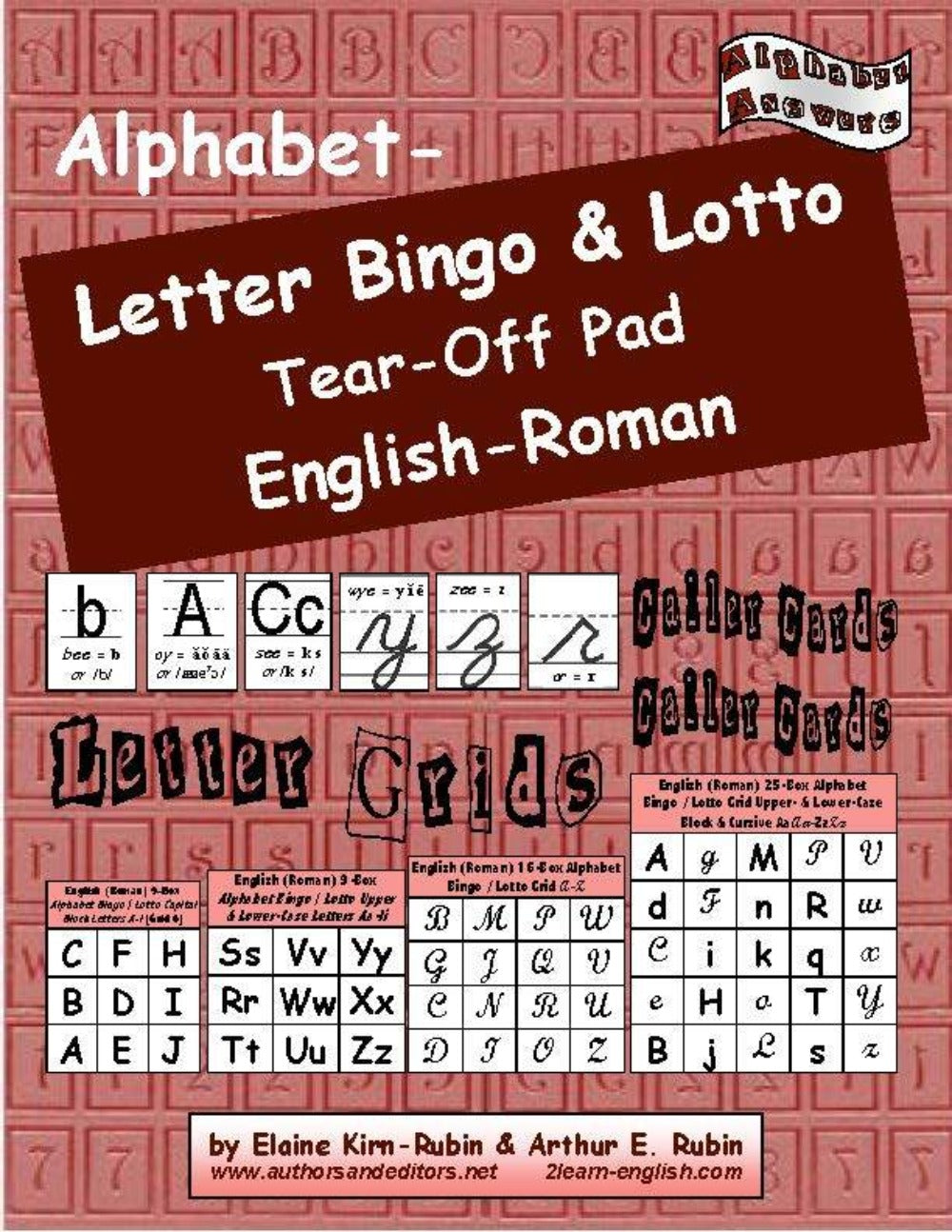Alphabet Letters Bingo/Lotto, English-Roman: 15 Games of 8 Grids each + Caller Cards