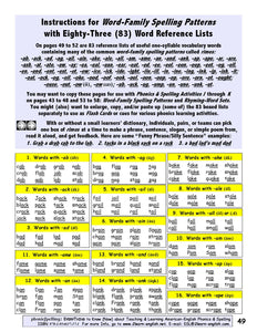 B-03.01 Get 48 Most Common Word-Family Spelling Patterns, 10 Pages
