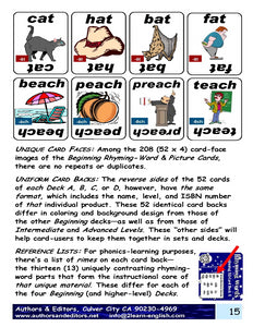 B-03.02 Get Reasons & Instructions for Use of Beginning Rhyming-Word Card Decks A-D, 56 Half-Sized Pages