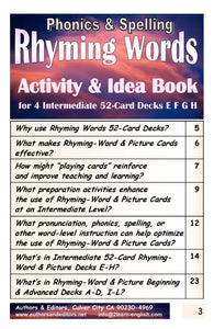 B-3.07 Get Reasoning & Instructions for Use of Intermediate Rhyming-Word Cards Decks E-H