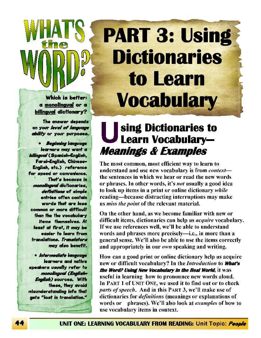 C.2.2 Get Vocabulary Information from Dictionaries