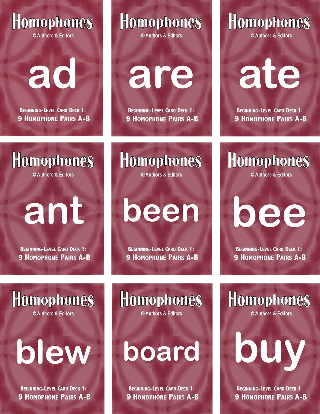 C-05.4.1 Get & Use Six 9-Pair Beginning Homophones Card Decks