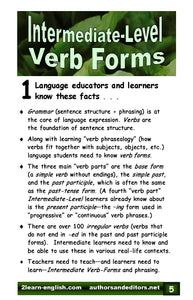 D-13.11 Reasons & Instructions; 36 Intermediate (Regular & Irregular) Verb-Part Card Triads & More