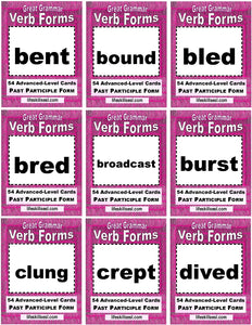 D-13.14 162 Cards Advanced Base + Past + Past Participles of 54 Verbs,