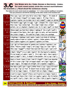 E-01.08 Recognize, Pronounce, & Contrast All Vowel Sounds in Comparison & Contrast of Words of Various Parts of Speech