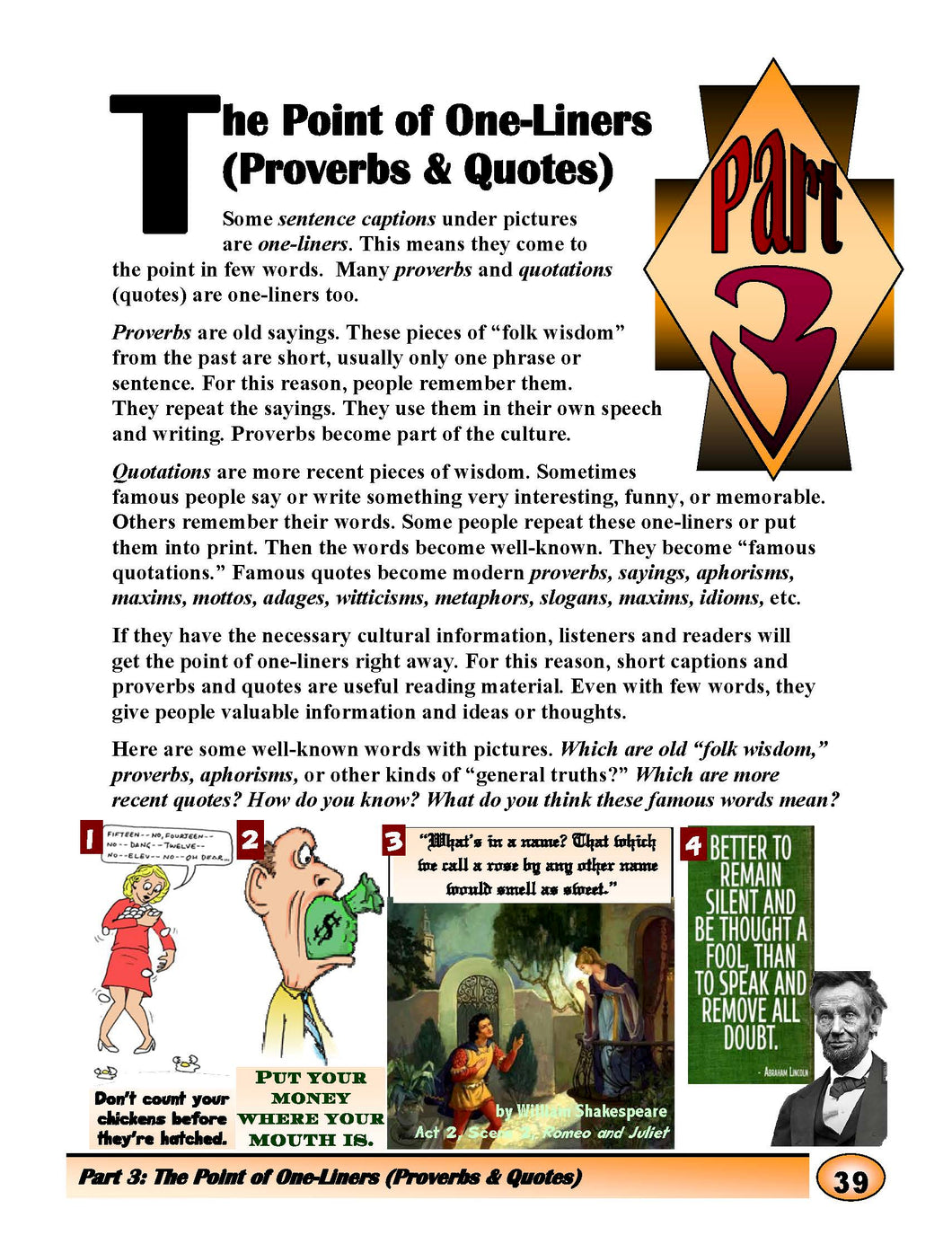 The Point of One-Liners(Proverbs&Quotes)