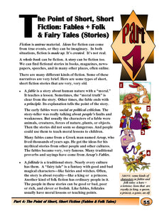 The point of short,short Fiction: Fables + Fairy Tales(Stories)
