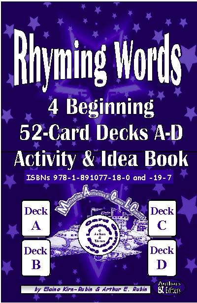 B-03.02 Rhyming Words Level 2 = Beginning Four 52-Card Decks A-D + 56-Page Activities & Ideas Book