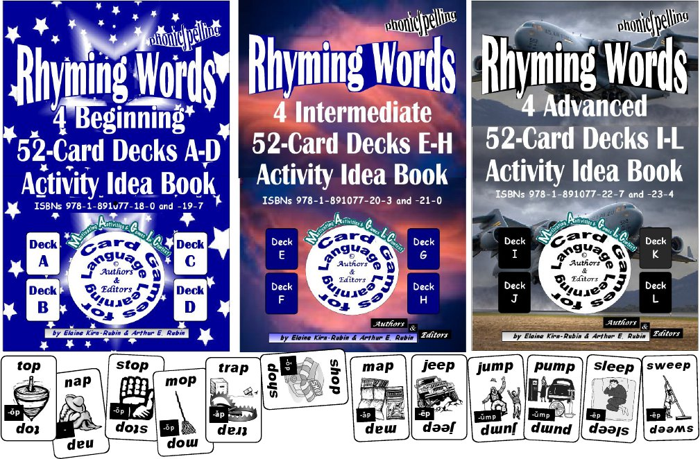 B-03.00 Rhyming Words Levels 2-4 = Beginning Through Advanced 12 52-Card Decks A-L+ 3 Activities & Ideas Books