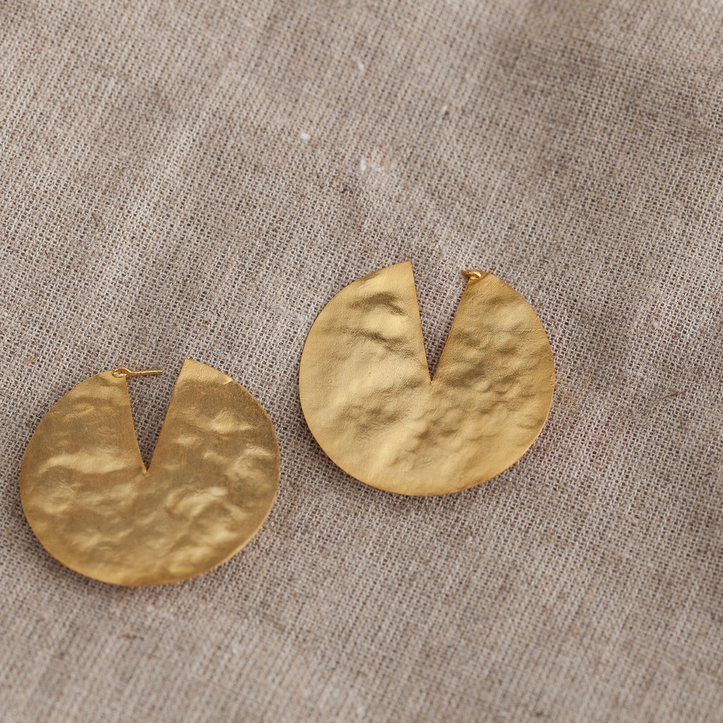 Flat Slice Circle Earring