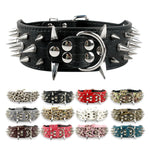 Badass Wide Spiked Leather Dog Collars For Medium-Large Breeds