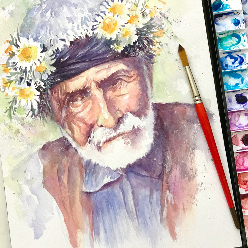 Old Man With Flower Crown