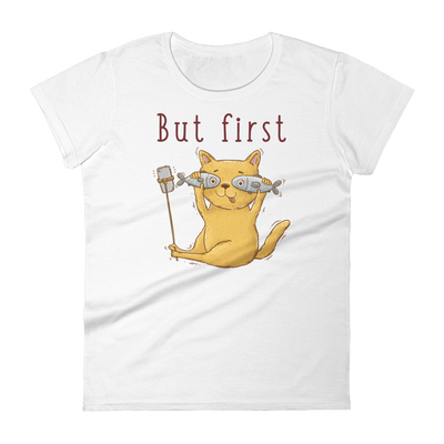 Selfie Cat with Two Fish - Women's short sleeve t-shirt