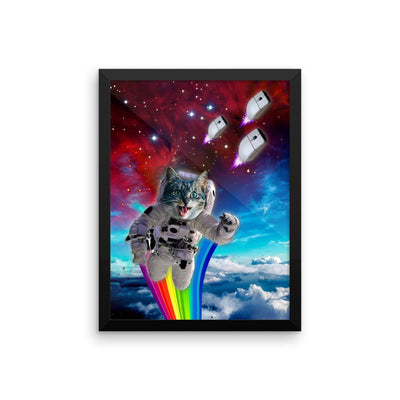 Cat Chasing Mouse in Space - Poster