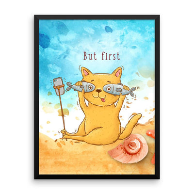Selfie Cat with Two Fish - Poster