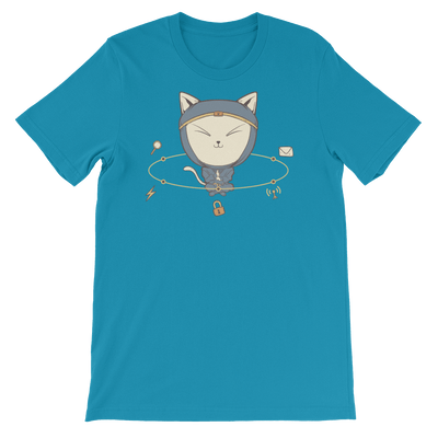 Pets In Tech Aqua / S App Ninja Cat - Short-Sleeve Unisex T-Shirt