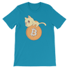 Pets In Tech Aqua / S Bitcoin Cat - Short-Sleeve Unisex T-Shirt