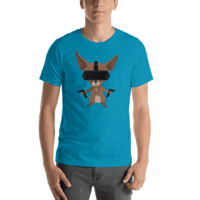 Pets In Tech Aqua / S Virtual Reality Chihuahua - Short-Sleeve Unisex T-Shirt