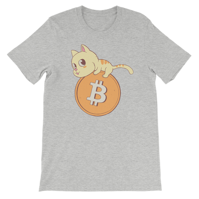 Pets In Tech Athletic Heather / S Bitcoin Cat - Short-Sleeve Unisex T-Shirt