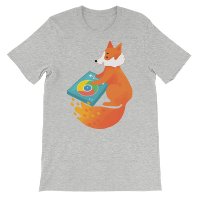 Pets In Tech Athletic Heather / S Chrome DJ Firefox - Short-Sleeve Unisex T-Shirt