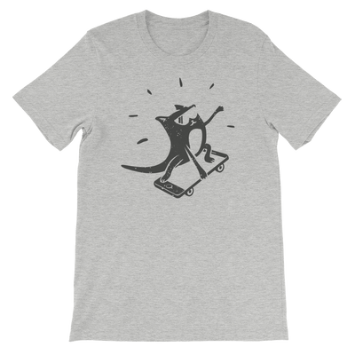 Pets In Tech Athletic Heather / S iPhone Skater Cat - Short-Sleeve Unisex T-Shirt