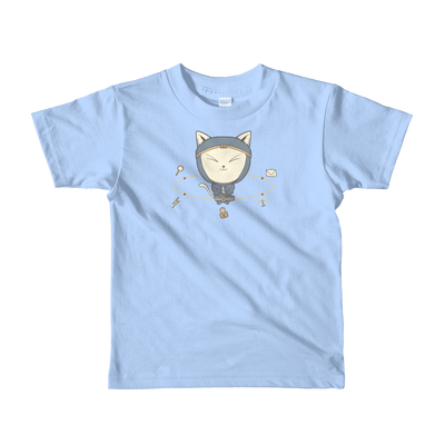 Pets In Tech Baby Blue / 2yrs App Ninja Cat - Short sleeve kids t-shirt