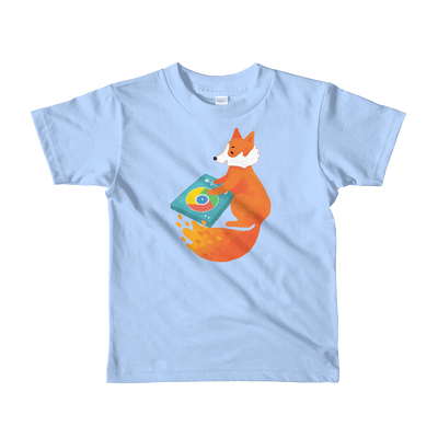 Pets In Tech Baby Blue / 2yrs Chrome DJ Firefox - Short sleeve kids t-shirt