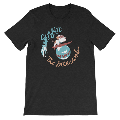 Pets In Tech Black Heather / S Surfin' the Interweb Puppy - Short-Sleeve Unisex T-Shirt