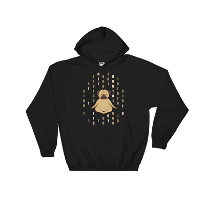 Pets In Tech Black / S 1s 0s Meditating Pug - Hoodie