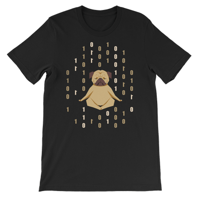 Pets In Tech Black / S 1s 0s Meditating Pug - Short-Sleeve Unisex T-Shirt