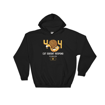 Pets In Tech Black / S 404 Cat Doesn't Respond - Hoodie