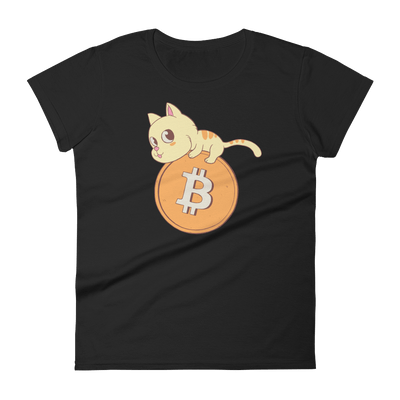 Pets In Tech Black / S Bitcoin Cat - Women's short sleeve t-shirt