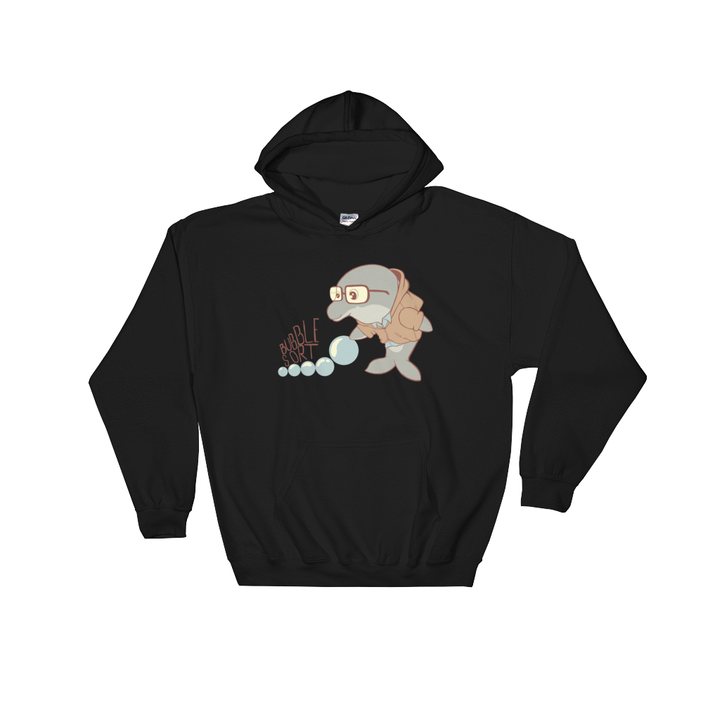 Pets In Tech White / S Bubble Sort Dolphin - Hoodie