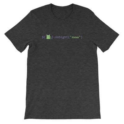 Pets In Tech Dark Grey Heather / S Awww on sight Cat - Short-Sleeve Unisex T-Shirt