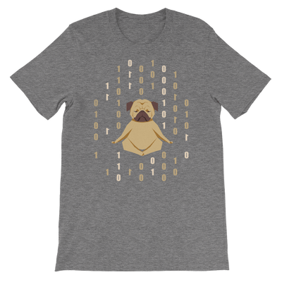 Pets In Tech Deep Heather / S 1s 0s Meditating Pug - Short-Sleeve Unisex T-Shirt