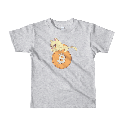 Pets In Tech Heather Grey / 2yrs Bitcoin Cat - Short sleeve kids t-shirt