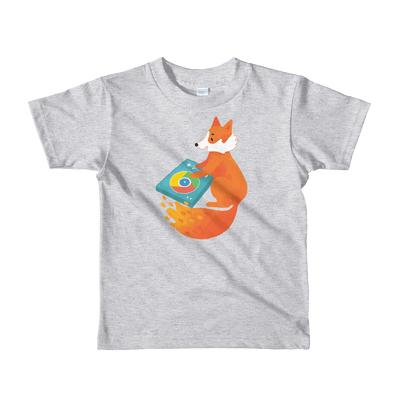 Pets In Tech Heather Grey / 2yrs Chrome DJ Firefox - Short sleeve kids t-shirt