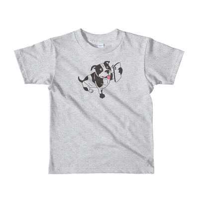 Pets In Tech Heather Grey / 2yrs Selfie Dog - Short sleeve kids t-shirt