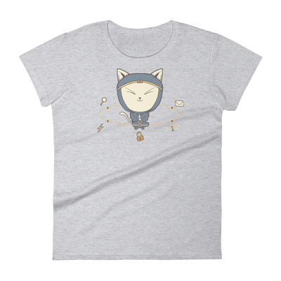 Pets In Tech Heather Grey / S App Ninja Cat - Women's short sleeve t-shirt